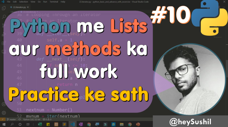 How to use lists in python | Full Python Course in Hindi by Hey Sushil
